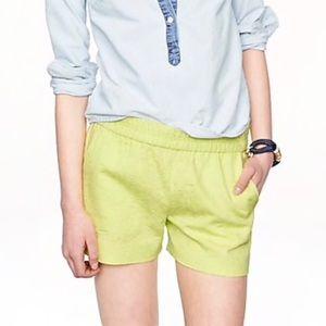 J. Crew Neon Yellow Pull On Matelasse Pocket Short